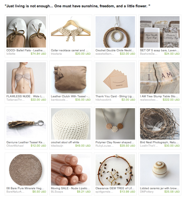 neutral palette etsy treasury